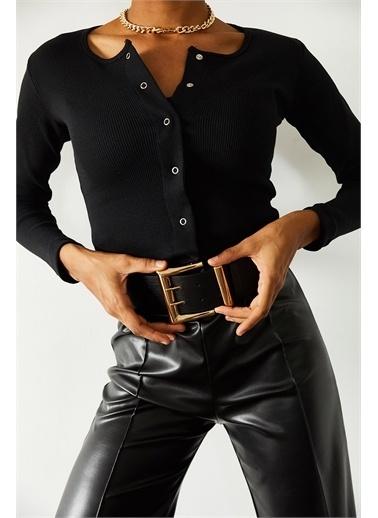 XHAN Siyah Çıtçıtlı Bluz 1Kxk3-44694-02 Siyah